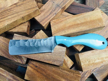 Load image into Gallery viewer, HANDMADE STEEL BULL CUTTER KNIFE WITH RESIN HANDLE AND PINS - SUSA KNIVES