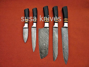 CUSTOM MADE DAMASCUS BLADE 5Pcs. CHEF/KITCHEN KNIVES SET - SUSA KNIVES