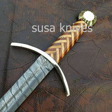 Load image into Gallery viewer, Custom Handmade Damascus Sword with leather sheath - SUSA KNIVES