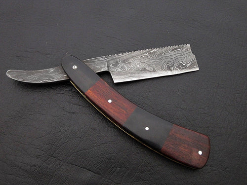 BEAUTIFUL CUSTOM HANDMADE DAMASCUS SHAVING RAZOR HANDLE ROSE WOOD & BULL HORN - SUSA KNIVES