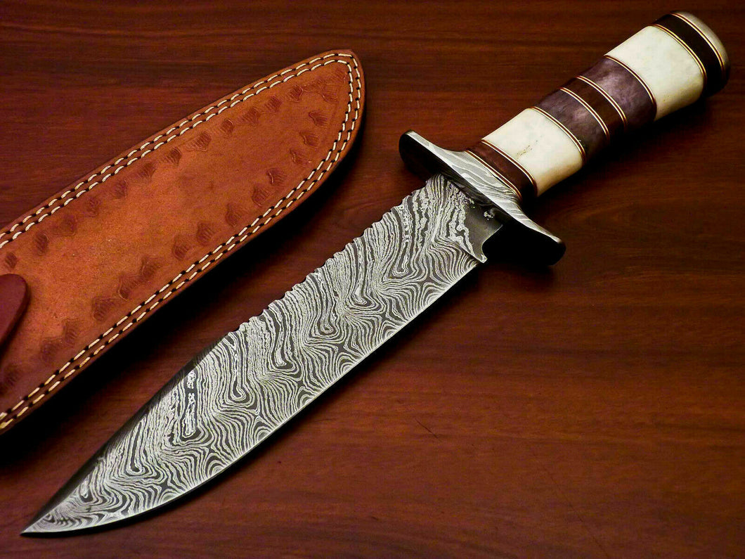 Amazing Custom Handmade Damascus Steel Hunting Knife