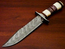 "Load image into Gallery viewer, Amazing Custom Handmade Damascus Steel Hunting Knife "" Stained Camel Bone Handle - SUSA KNIVES"