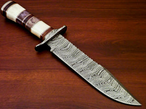 "Amazing Custom Handmade Damascus Steel Hunting Knife "" Stained Camel Bone Handle - SUSA KNIVES"