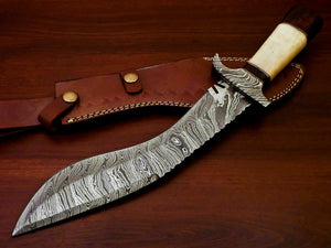 Amazing Custom Handmade Damascus Steel Kukri Knife |Sheath Camel Bone Handle - SUSA KNIVES