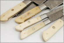 Load image into Gallery viewer, Custom Handmade Damascus Steel Beautiful 6 Pcs. Kitchen Knives Set-Bone - SUSA KNIVES