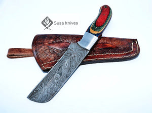 HAND FORGED DAMASCUS STEEL BULL CUTTER/COWBOY KNIFE & PUKKA WOOD HANDLE - SUSA KNIVES