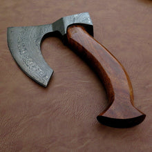 Load image into Gallery viewer, CUSTOM HAND FORGED DAMASCUS STEEL WALNUT WOOD TOMAHAWK AXE WITH LEATHER SHEATH - SUSA KNIVES