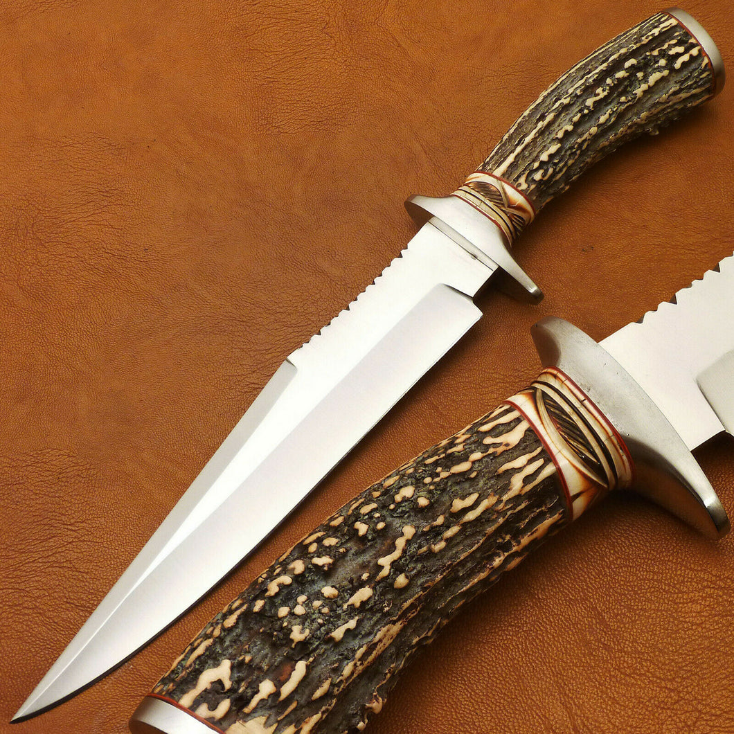 CUSTOM HAND MADE D2 BOWIE HUNTING KNIFE - FIGHTER KNIFE - STAG ANTLER HANDLE - SUSA KNIVES