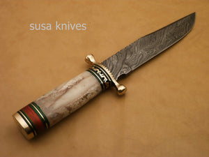 Custom Handmade Damascus Steel Hunting Bowie Knife with Colored Bone - SUSA KNIVES