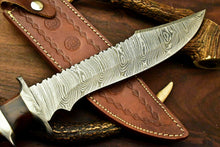 Load image into Gallery viewer, Custom Handmade Damascus Steel Bowie Knife | Sheath | Natural Rose Wood Handle - SUSA KNIVES