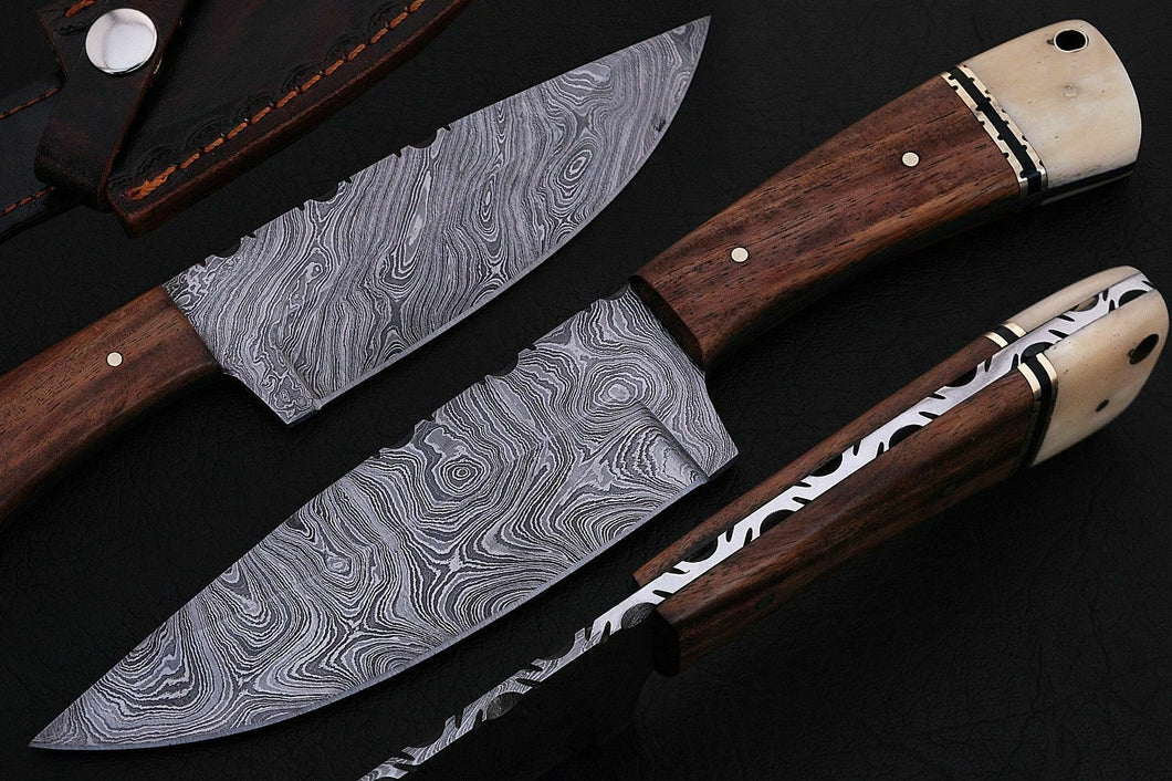 BEAUTIFUL CUSTOM HAND MADE DAMASCUS STEEL HUNTING SKINNER KNIFE. - SUSA KNIVES