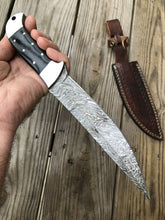 Load image into Gallery viewer, CUSTOM HAND FORGED DAMASCUS STEEL Hunting KNIFE W/Horn & Steel HANDLE - SUSA KNIVES