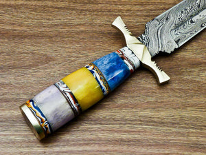 "Beautiful Custom Handmade Damascus Steel Dagger Knife ""Stained Camel Bone Handle - SUSA KNIVES"