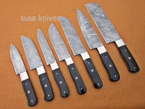 CUSTOM HANDMADE DAMASCUS STEEL CHEF SET/KITCHEN KNIVES 7 PCS ,BUFFALO HORN - SUSA KNIVES