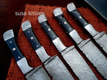Load image into Gallery viewer, CUSTOM HAND MADE DAMASCUS STEEL CHEF KNIVES SET. (LOT OF 5) - SUSA KNIVES