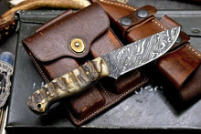 Load image into Gallery viewer, Handmade Hammered Damascus Custom Bird Fish Small Hunting Skinning Knife - SUSA KNIVES
