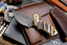 Load image into Gallery viewer, Handmade Twist Damascus Custom Sheep Horn Small Skinning Hunting Knife - SUSA KNIVES