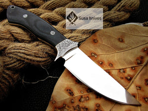 , HANDMADE ENGRAVED, HUNTING/FIGHTING KNIFE  440C MIRROR POLISHED - SUSA KNIVES