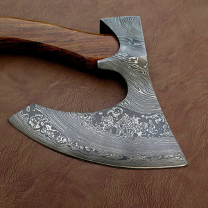 CUSTOM HAND FORGED DAMASCUS STEEL WALNUT WOOD TOMAHAWK AXE WITH LEATHER SHEATH - SUSA KNIVES