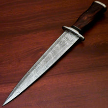 "Load image into Gallery viewer, AmazingCustom Hand-Forged Damascus Steel Dagger knife "" Natural Rose Wood Handle - SUSA KNIVES"