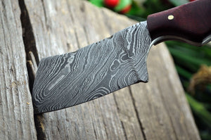 MINI POCKET CLEAVER HAND FORGED DAMASCUS STEEL CUSTOM HUNTING KNIFE WITH SHEATH - SUSA KNIVES