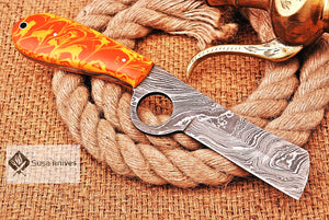 HAND FORGED DAMASCUS STEEL CONSTRATION BULL CUTTER/COWBOY KNIFE & RISEN HANDLE - SUSA KNIVES