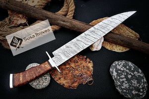 HAND FORGED DAMASCUS STEEL,STRONG GRIP OUTDOOR HUNTING,FIGHTING CLAW BOWIE KNIFE - SUSA KNIVES