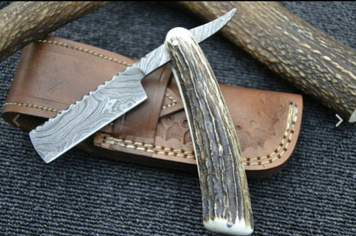 Handmade Damascus Steel Cut Throat Shaving Razor - SUSA KNIVES