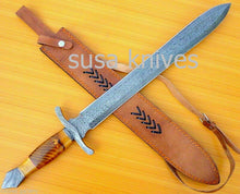 Load image into Gallery viewer, Hand-made-Damascus-steel-hunting-sword - SUSA KNIVES