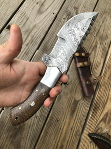 CUSTOM HAND FORGED DAMASCUS STEEL TRACKER Hunting KNIFE - SUSA KNIVES