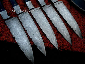 CUSTOM HAND MADE DAMASCUS STEEL CHEF KNIVES SET. (LOT OF 5) - SUSA KNIVES