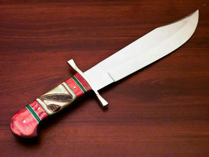 Amazing Custom Handmade D2 Steel Bowie Knife | Sheath Stained Camel Bone Handle - SUSA KNIVES