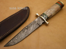 Load image into Gallery viewer, Custom Handmade Damascus Steel Hunting Bowie Knife with Colored Bone - SUSA KNIVES