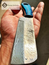 Load image into Gallery viewer, HAND FORGED DAMASCUS STEEL BULL CUTTER/COWBOY KNIFE & PUKKA WOOD HANDLE - SUSA KNIVES
