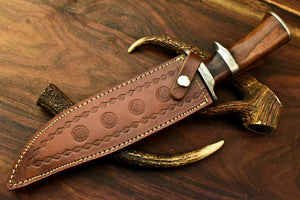 Custom Handmade Damascus Steel Bowie Knife | Sheath | Natural Rose Wood Handle - SUSA KNIVES