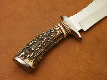 Load image into Gallery viewer, CUSTOM HAND MADE D2 BOWIE HUNTING KNIFE - FIGHTER KNIFE - STAG ANTLER HANDLE - SUSA KNIVES