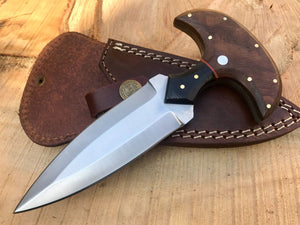 CUSTOM HANDMADE HUNTING BOOT KNIFE D2 STEEL WOOD HANDLE LEATHER WITH SHEATH - SUSA KNIVES