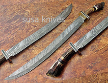Load image into Gallery viewer, CUSTOM HAND MADE DAMASCUS STEEL HUNTING SWORD KNIFE - SUSA KNIVES