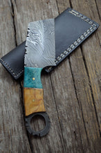 Load image into Gallery viewer, HANDMADE DAMASCUS STEEL BONE & WOOD MINI CLEAVER KNIFE - POCKET KNIFE - SUSA KNIVES