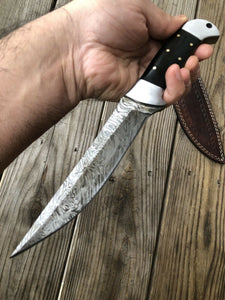 CUSTOM HAND FORGED DAMASCUS STEEL Hunting KNIFE W/Horn & Steel HANDLE - SUSA KNIVES