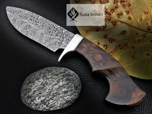 CUSTOM MADE, FEATHER PATTERN,SCENIC HANDLE, OUTDOOR HUNTING, FIGHTING CLAW KNIFE - SUSA KNIVES