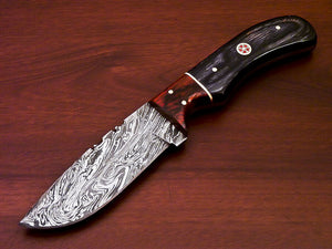BEAUTIFUL CUSTOM HAND MADE DAMASCUS STEEL FULL TANG KNIFE-HARD WOOD - SUSA KNIVES