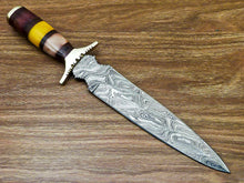 "Load image into Gallery viewer, Beautiful Custom Handmade Damascus Steel Dagger Knife ""Stained Camel Bone Handle - SUSA KNIVES"