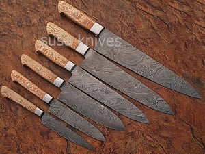 USTOM MADE DAMASCUS BLADE 6Pcs. CHEF/KITCHEN KNIVES SET - SUSA KNIVES