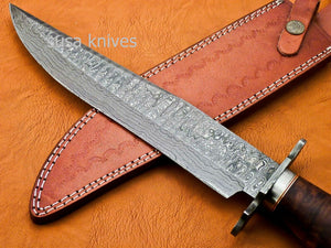 Handmade Damascus Steel Bowie Knive - Rose Wood Handle - SUSA KNIVES