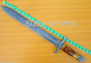 Hand-made-Damascus-steel-hunting-sword - SUSA KNIVES