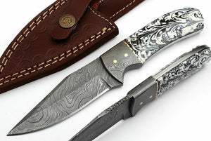 CUSTOM HAND MADE DAMASCUS STEEL FULL TANG HUNTING SKINNER KNIFE - SUSA KNIVES