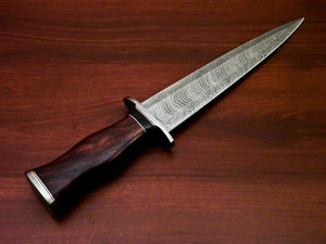 "AmazingCustom Hand-Forged Damascus Steel Dagger knife "" Natural Rose Wood Handle - SUSA KNIVES"