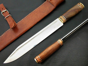"Amazing Custom Handmade D2 Steel Hunting Knife "" Natural Rose Wood Handle - SUSA KNIVES"