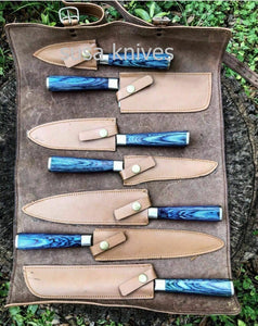 Handmade Custom Damascus Steel 7 Piece Kitchen Knife Set- Chef's Knife Set - SUSA KNIVES